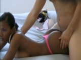 Busty black girl fucked from behind